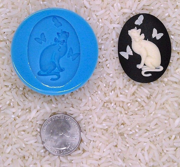 Cat Lover Cat Butterfly Food Safe Silicone Cameo Mold for candy soap clay resin wax etc.