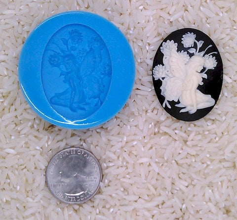 Fairy Woodland Nymph Pixie Food Safe Silicone Cameo Mold for candy soap clay resin wax etc.