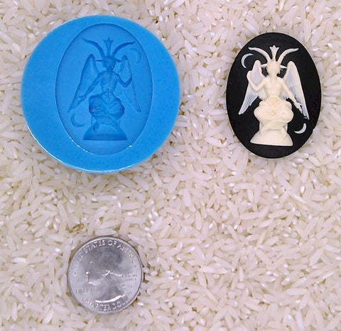 Baphomet occult wicca witchcraft Food Safe Silicone Cameo Mold for candy soap clay resin wax etc.