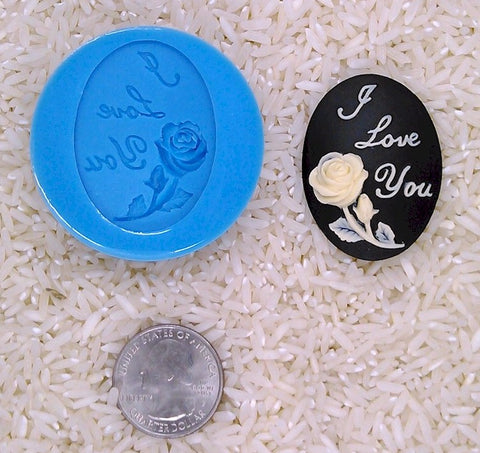 Affirmation I Love You Rose Food Safe Silicone Cameo Mold for candy soap clay resin wax etc.