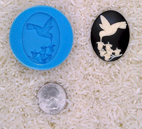 Hummingbird Lily of the Valley Food Safe Silicone Cameo Mold for candy soap clay resin wax etc.