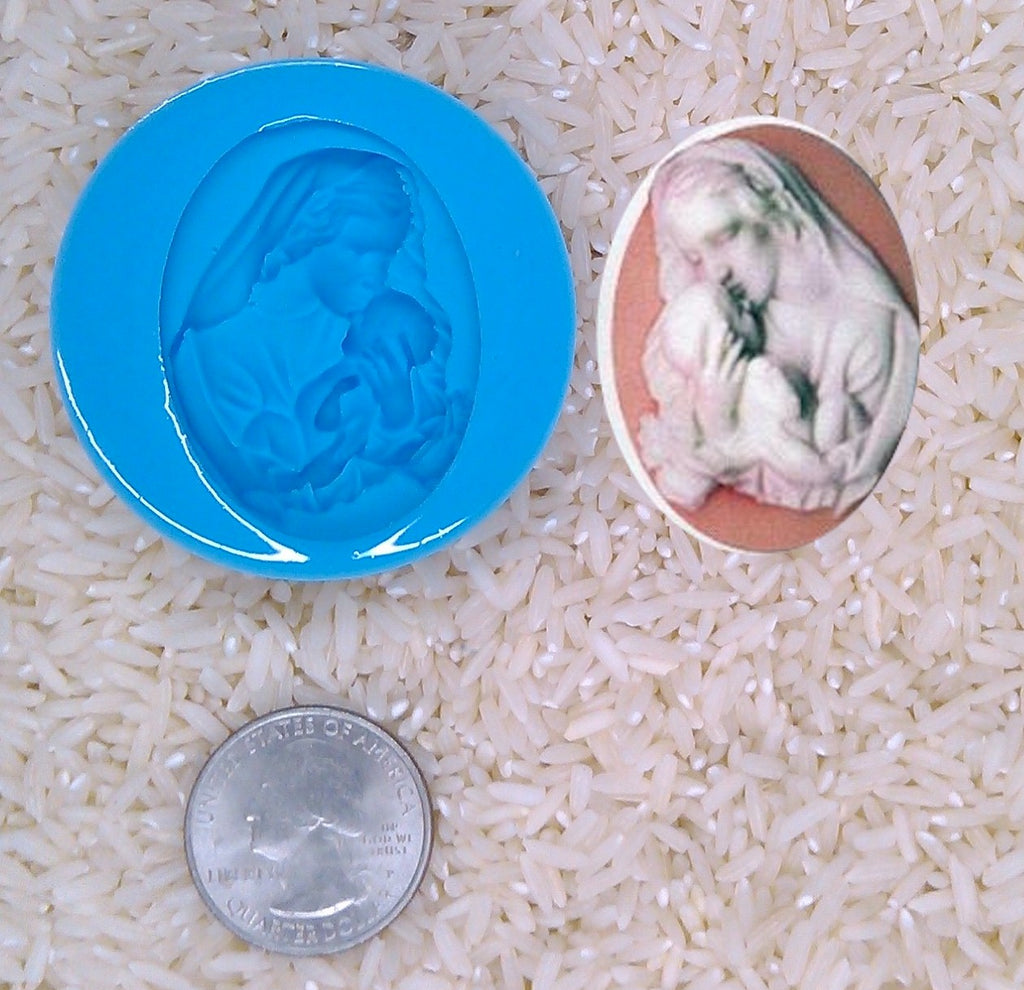 Madonna Child Virgin Mother Baby Jesus religious Food Safe Silicone Cameo Mold for candy soap clay resin wax etc