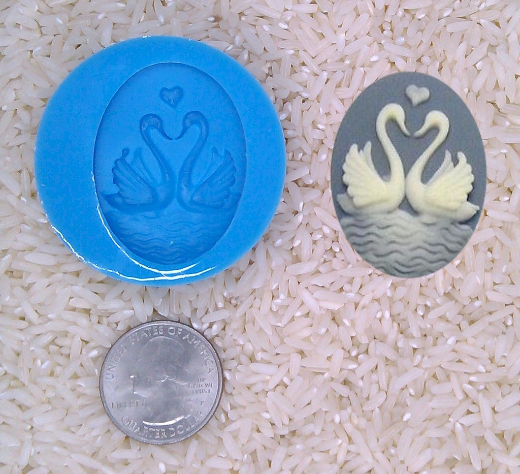 Forever Love Swans Heart water birds Food Safe Silicone Cameo Mold for candy soap clay resin wax etc
