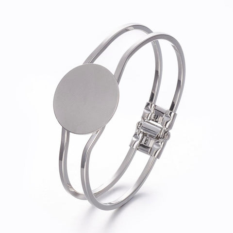 Silver Bracelet Bangle Blank Hinged Cuff Bracelet with 25mm Glue Pad S2037