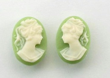 14x10mm green and light ivory ponytail girl matched pair resin cameos S2040
