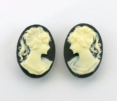 18x13mm black and ivory ponytail girl matched pair resin cameos S2041