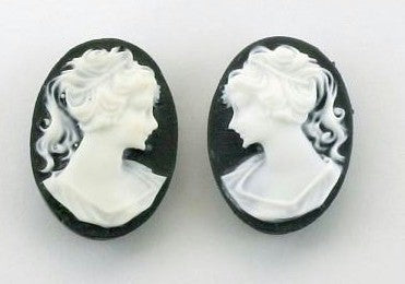 18x13mm black and WHITE ponytail girl matched pair resin cameos S2045