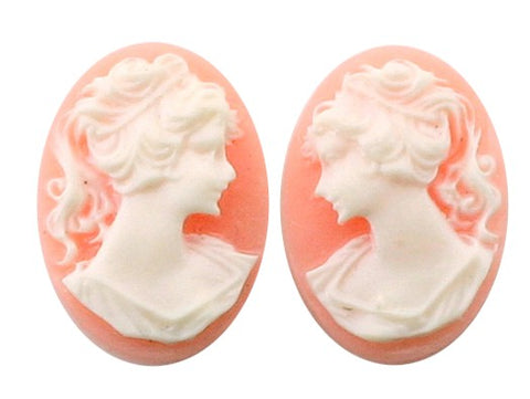 25x18mm ponytail girl resin cameo pair pink white S2047