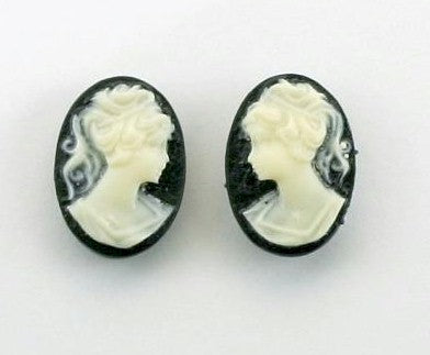 14x10mm black and light ivory ponytail girl matched pair resin cameos 145R