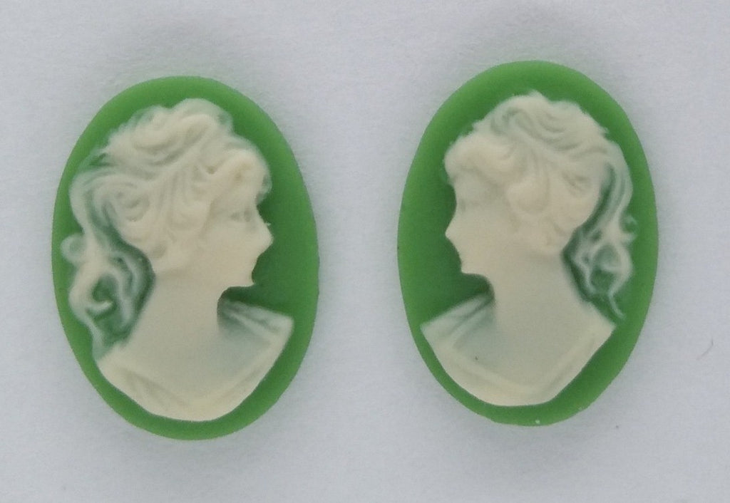 14x10mm green and IVORY ponytail girl matched pair resin cameos S2063