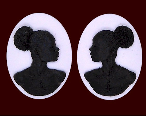 40x30mm Matched Pair African American Resin Cameo Black White Afro Ethnic Black Jewelry S2064