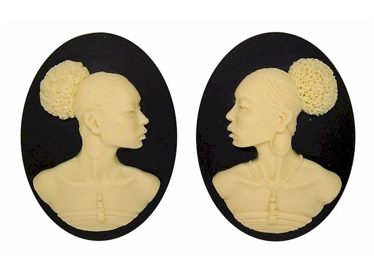40x30mm Matched Pair African American Resin Cameo Black Ivory Afro Ethnic Black Jewelry S2065