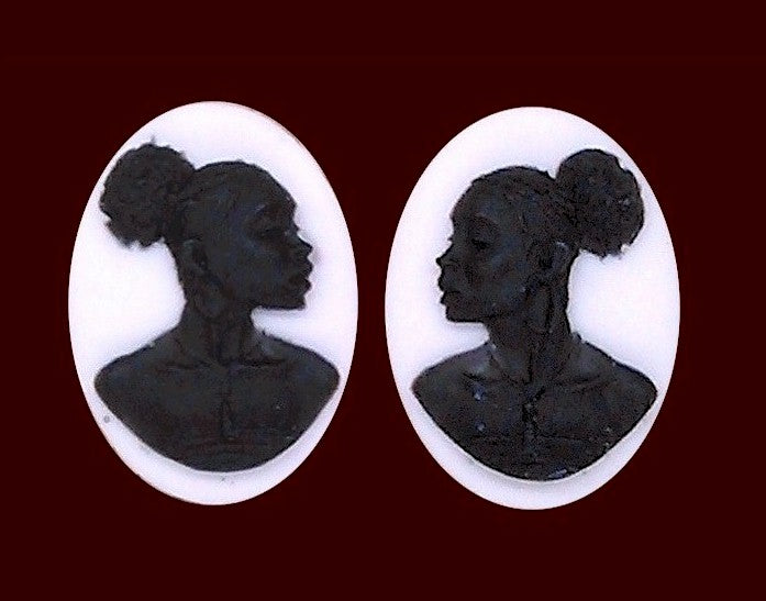 18x13mm African American Cameo Matched Pair Black and White Resin Cameos S2066