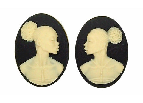 25x18mm Matched Pair African American Resin Cameo Black Ivory Afro Ethnic Black Jewelry S2067