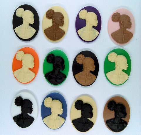 Afro Centric Cameo 25x18mm African American Resin Cameo SET of 12 pcs. S2070