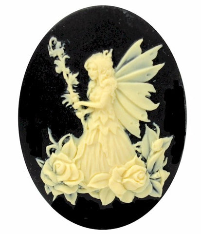 40x30mm Fairy with staff and roses Nymph Resin Cameo Cabochon Black and Ivory S2088