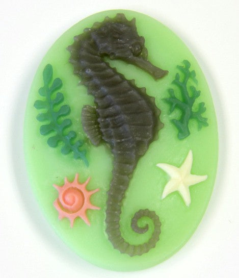 40x30mm Tri color Seahorse Sea creature ocean beach theme resin cameo S2121