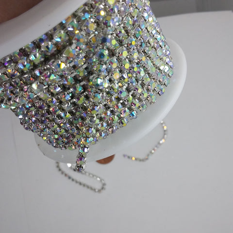 1 YARD 2.8mm AB aurora borealis Rhinestone Chain Silver Backed Crystal Trim Cup Chain jewelry finding supply S2123