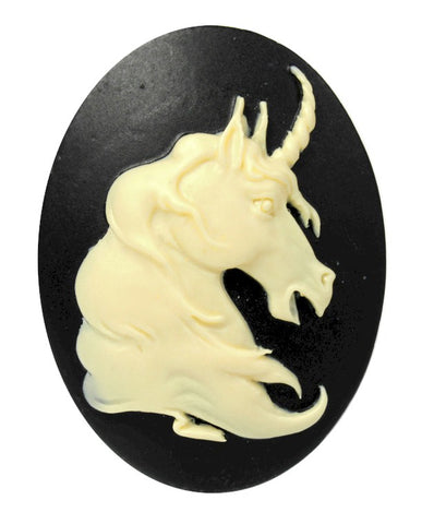 mythological 40x30mm resin unicorn cameo ivory black cabochon horse  S2124