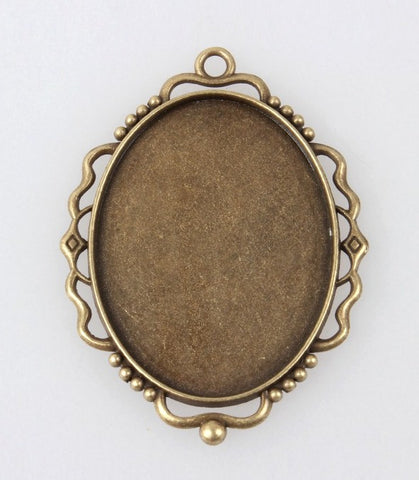 40x30mm Antique Bronze Cameo Setting Filigree Edged Top Ring Cabochon Frame S2125
