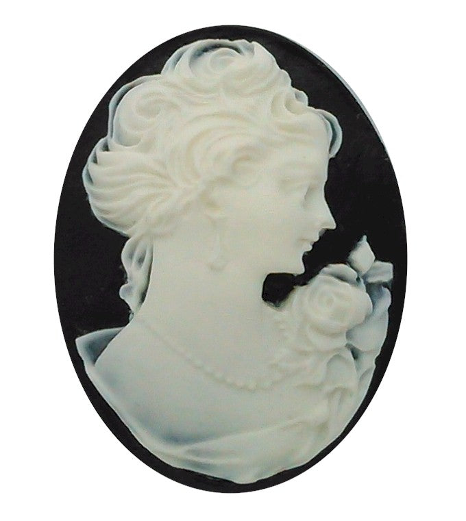 40x30mm Woman with Short Hair and pearls Resin Cameo cabochon  S2129