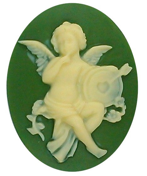 Cupids Arrow Resin Cameo 40x30mm Valentine Theme Angel Cherub Green Creme S2130