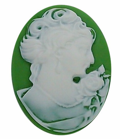 40x30mm Green and White Woman with Short Hair Resin Cameo cabochon  S2134