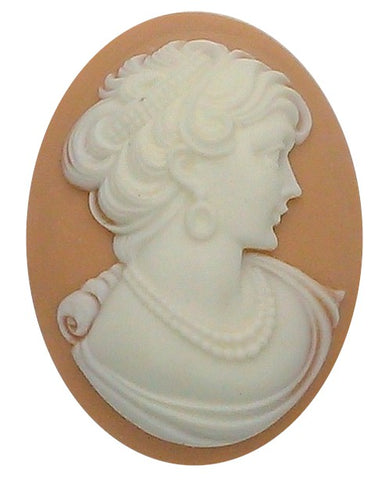 40x30mm Woman with Short Hair and pearls Resin Cameo cabochon  S2135