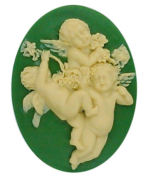 40x30mm Green and Creme Three Cherubs Angel Resin Cameo S2140