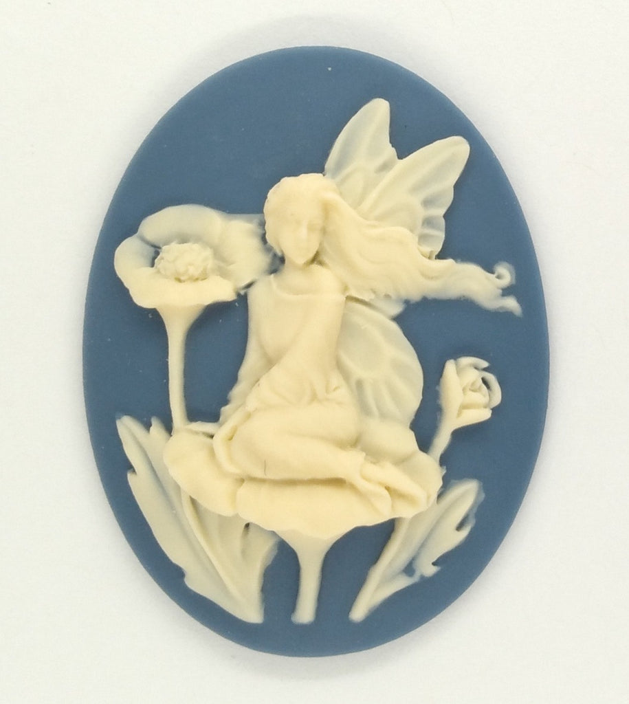 40x30mm Elf Pixie fairy  Blue Resin CAMEO garden embellishment cosplay  S2141