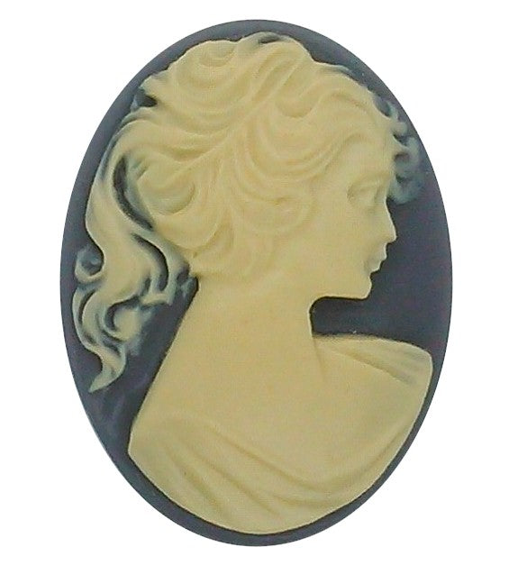 40x30mm Grey and Light Ivory Pony Tail Woman Resin Cameo S2145