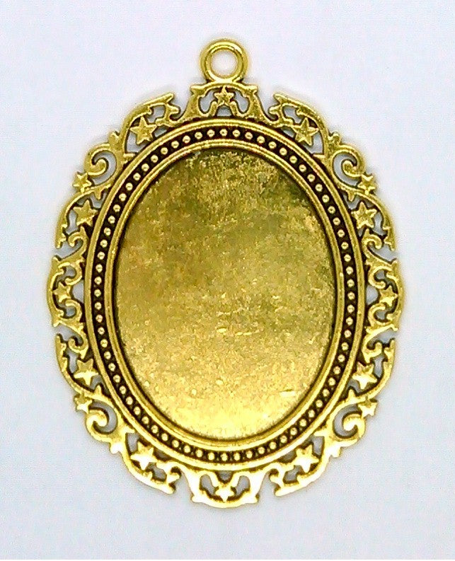 40x30mm Antique Gold Cabochon Pendant Setting with ring S2148