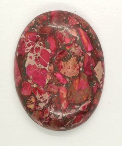 40x30mm Red Pink Matrix Collage Stone Caboachon Oval Loose S2154A