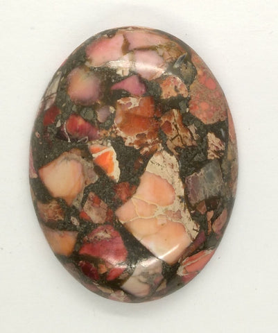 40x30mm Red Pink Matrix Collage Cabachon Stone loose flat back  S2154F