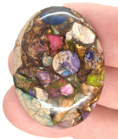 40x30mm Rainbow Matrix Collage Stones Single piece you are buying this stone S2155E