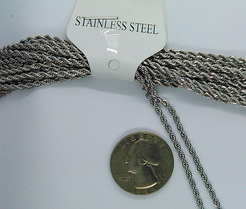 23 inch Stainless Steel Rope Chain Necklace with Lobster Claw Clasp 304 stainless 2.2mm  thick S2160