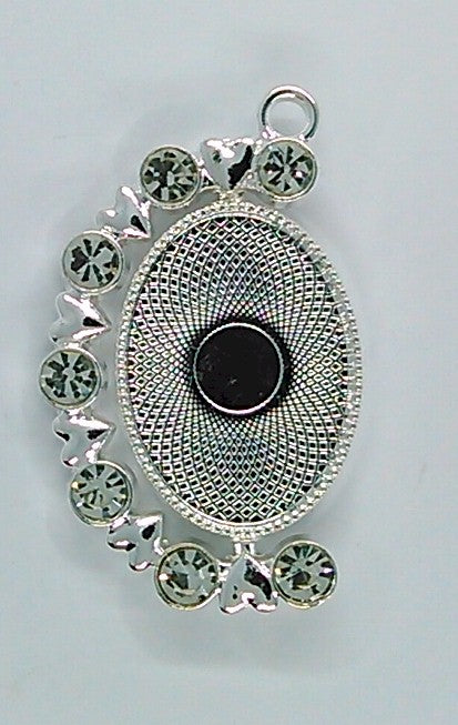 Two Sided Reversible 25x18mm Bright Silver Rhinestone Cabochon Cameo Pendant Setting ( Read Description ) S2163
