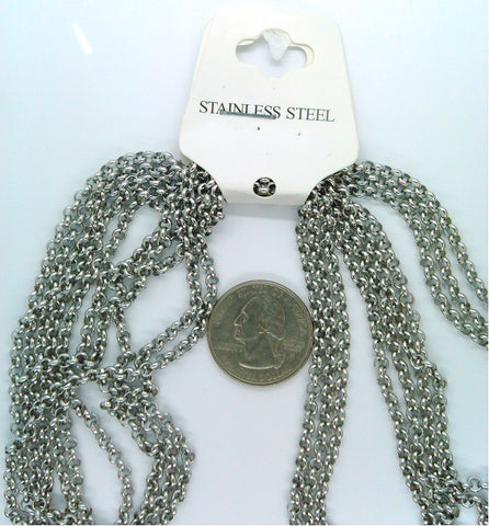 304 Stainless Steel 19 inch Rolo Chain Necklaces with Lobster Claw Clasps  3.5mm  S2168