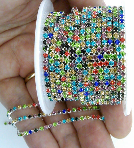 1 YARD 2.3mm Rainbow colorful Rhinestone Chain Silver Backed Crystal Trim Cup Chain jewelry finding supply S2174
