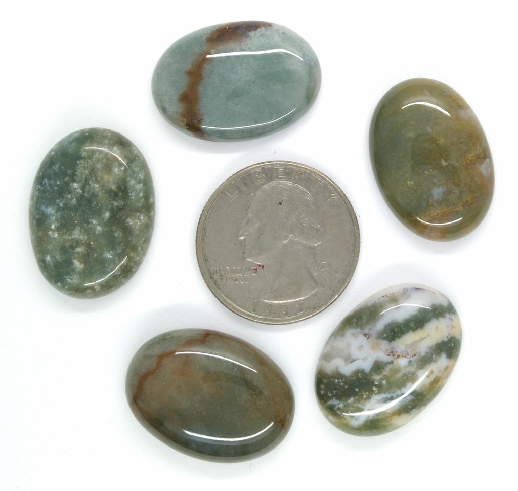 Lot of 5pcs Natural Indian Agate 25x18mm Flat Back Oval Cabochon Gemstone S2180B