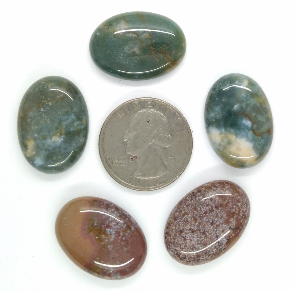 Lot of 5pcs Natural Indian Agate 25x18mm Flat Back Oval Cabochon Gemstone S2180C