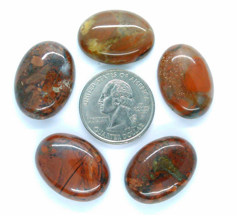 5pc. Lot of 25x18mm Natural Brecciated Jasper loose oval Flat Back Cabochons S2183B