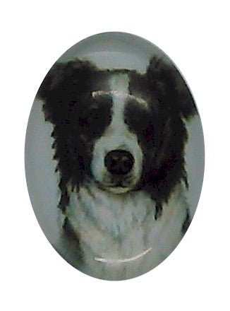 18x13mm Border Collie Dog Glass Cabochon Cameo Jewelry Finding S2192