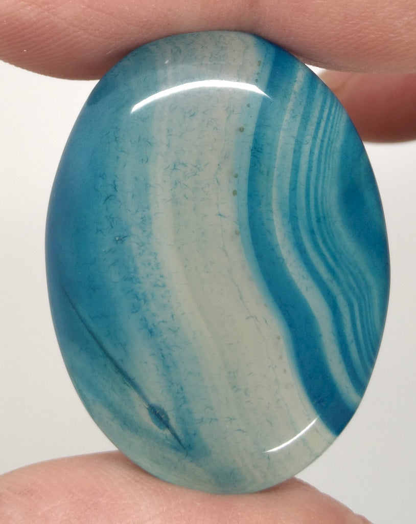 40x30mm Deep Blue Dyed Banded Agate Oval Flat Back Cabochon S2196A
