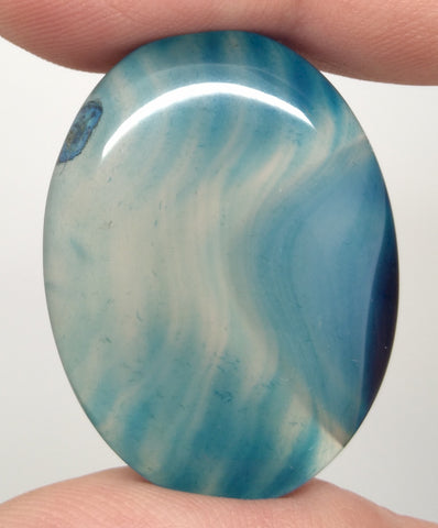 40x30mm Deep Blue Dyed Banded Agate Oval Flat Back Cabochon S2196D