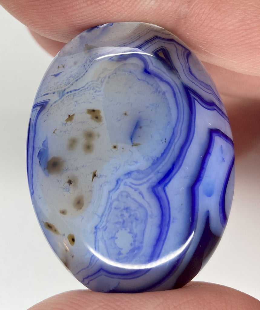 40x30mm Cobalt Blue Dyed Banded Agate Oval Flat Back Cabochon S2197G