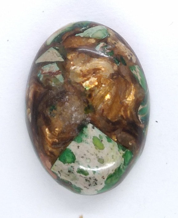 25x18mm Blue Green Copper Matrix Collage Cabochon Oval Flat Back Stone S2205H