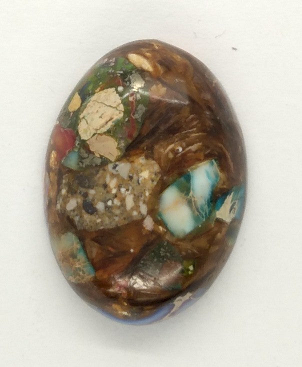 25x18mm Mixed color Copper Matrix Collage Cabochon Oval Flat Back Stone S2206F