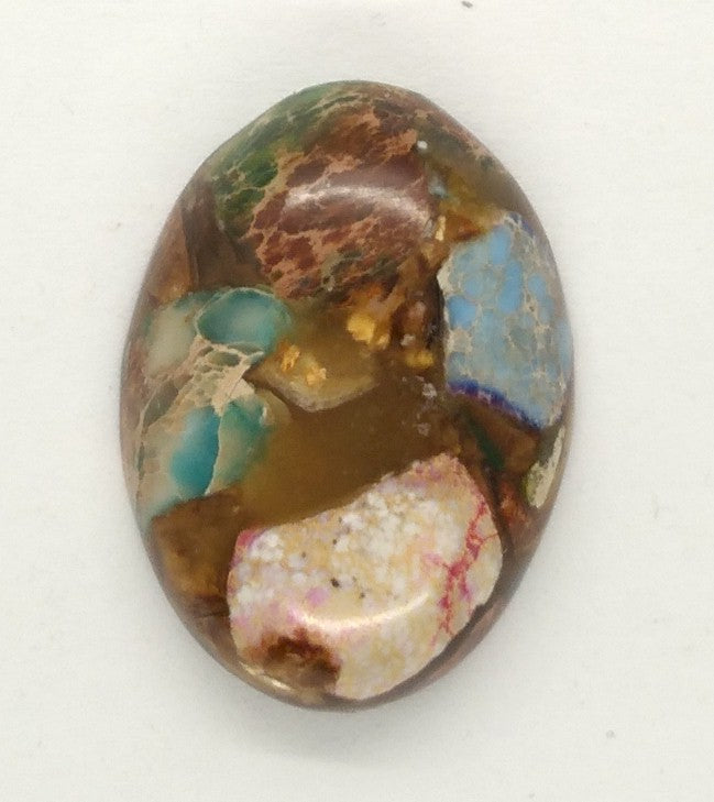 25x18mm Mixed color Copper Matrix Collage Cabochon Oval Flat Back Stone S2206G