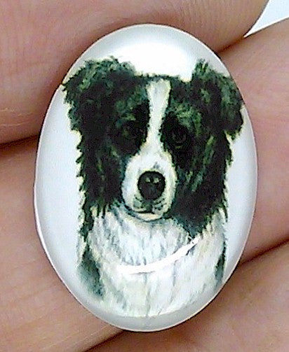 25x18mm Border Collie Dog Glass Cabochon Cameo Jewelry Finding S2208